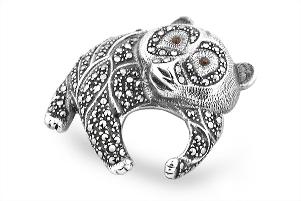 STERLING SILVER MARCASITE PANDA BEAR BROACH WITH GARNET EYES