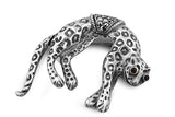 STERLING SILVER MARCASITE PANTHER BROACH WITH GARNET EYES