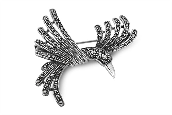 STERLING SILVER MARCASITE FLYING PARROT BROACH