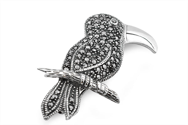 STERLING SILVER MARCASITE PARROT BROACH