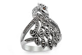 STERLING SILVER MARCASITE PEACOCK FILIGREE RING
