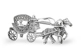 STERLING SILVER MARCASITE ROYAL TWIN HORSE CARRIAGE BROACH