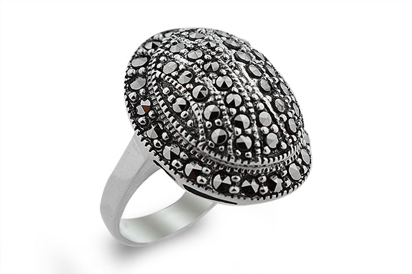 STERLING SILVER MARCASITE STUDDED HALF BALL RING