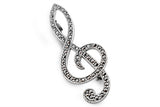 STERLING SILVER MARCASITE TREBLE CLEF BROACH
