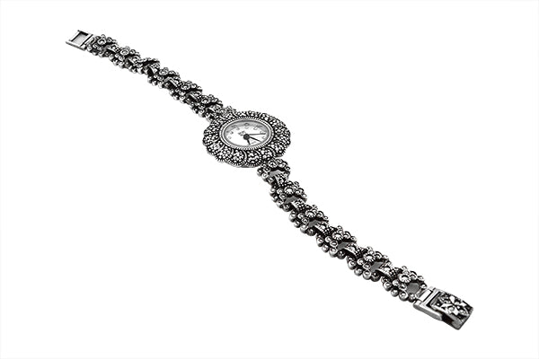 Sterling Silver Marcasite Victorian Watch