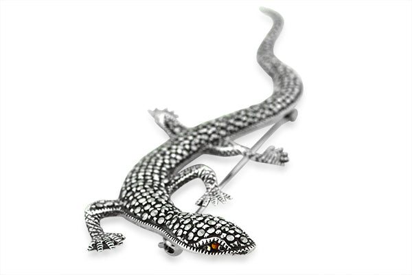 Sterling Silver Marcasite And Garnet Life Size Lizard Broach