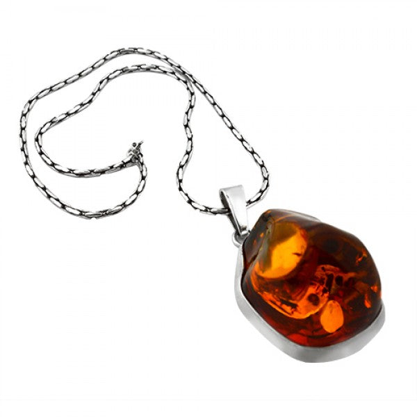 STERLING SILVER MASSIVE BALTIC AMBER NECKLACE PENDANT