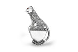 STERLING SILVER MOTHER OF PEARL MARCASITE PANTHER BROACH