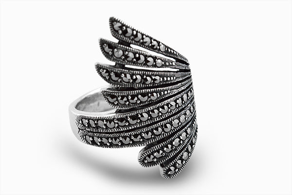 STERLING SILVER NAVAJO MARCASITE RING