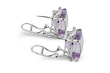 STERLING SILVER OMEGA CLIP AMETHYST EARRINGS