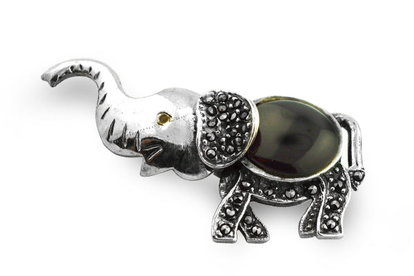 STERLING SILVER ONYX MARCASITE BABY ELEPHANT BROACH