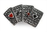 STERLING SILVER, ONYX, MARCASITE, POKER, BROACH