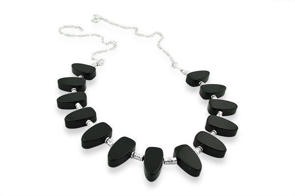 Sterling Silver Onyx Tribal Choker Necklace