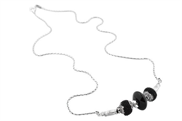 Sterling Silver Onyx and Ceramic Bead Necklace