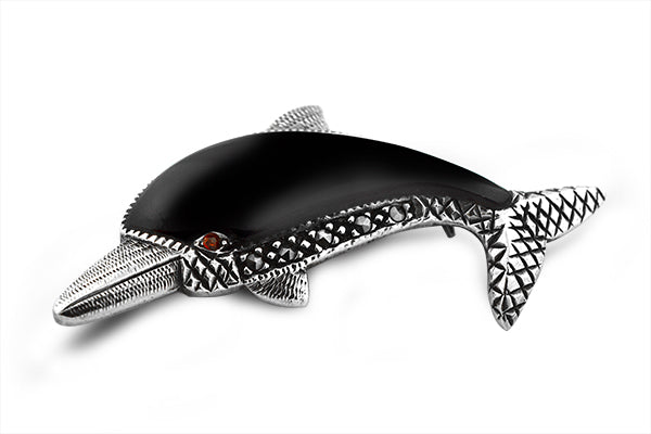 STERLING SILVER ONYX AND MARCASITE BABY DOLPHIN BROACH