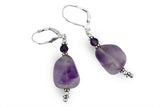 STERLING SILVER OPAQUE AMETHYST EARRINGS