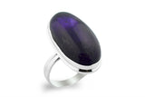 STERLING SILVER OVAL CABOCHON AMETHYST RING