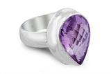 STERLING SILVER PEAR SHAPED CHECKERBOARD CUT AMETHYST RING