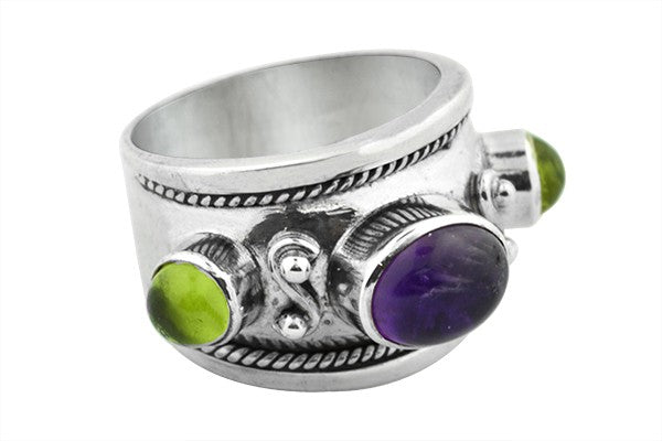 STERLING SILVER PERIDOT AND AMETHYST RING