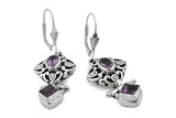 STERLING SILVER RAJASTHANI AMETHYST EARRINGS