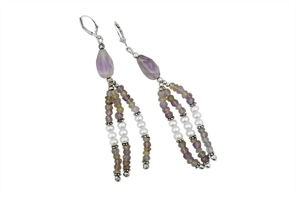 STERLING SILVER RAJASTHANI FOLKLORE AMETHYST AND PEARL EARRINGS