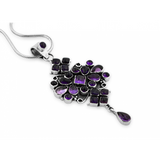 STERLING SILVER RAJASTHANI STYLE MULTI STONE AMETHYST PENDANT WITH SERPENTINE CHAIN