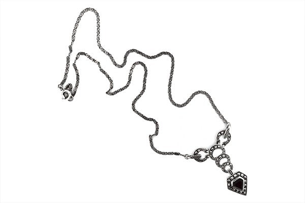 Sterling Silver Renaissance Jet Black Onyx and Marcasite Necklace