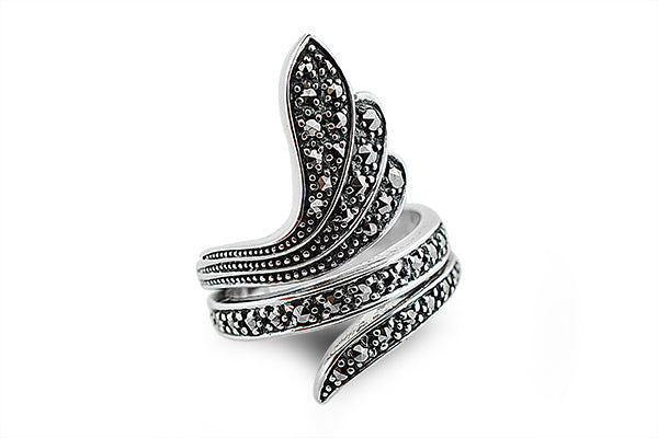 STERLING SILVER SNAKE MARCASITE RING