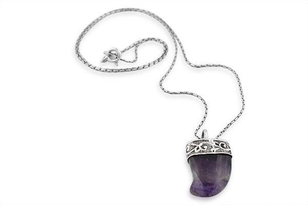 Sterling Silver Stunning Amethyst Cornucopia Pendant with Chain