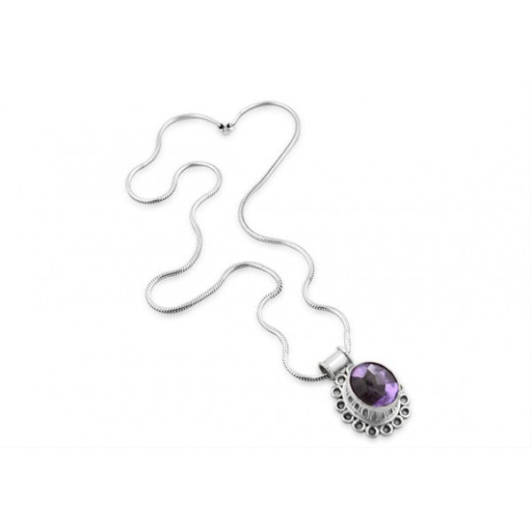 Sterling Silver Stunning Protruding Bezel Amethyst Pendant with Serpentine Chain