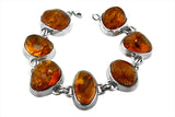 STERLING SILVER SUPER HEAVY BALTIC AMBER BRACELET