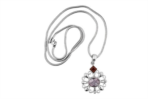 STERLING SILVER SYMBIOSIS OF GARNET AND AMETHYST PENDANT NECKLACE