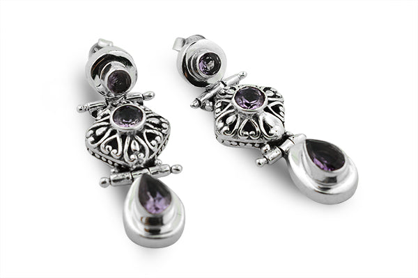 STERLING SILVER THREE TIER JAIPURI AMETHYST EARRINGS