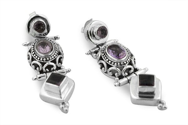 STERLING SILVER THREE TIER RAJASTHANI AMETHYST EARRINGS