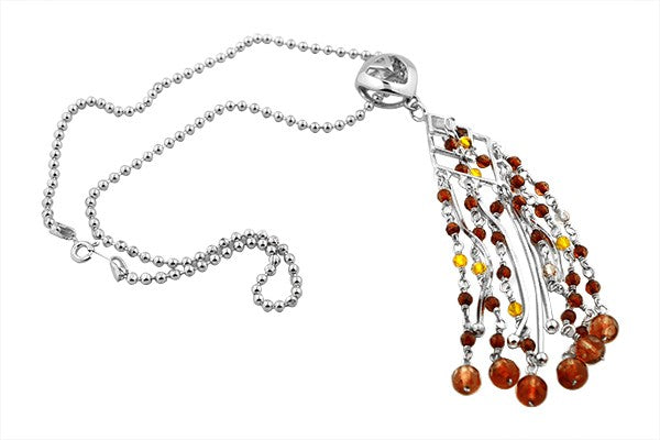 STERLING SILVER TRI-COLOR BALTIC AMBER TASSEL NECKLACE PENDANT