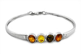 STERLING SILVER TRI-COLOR BALTIC AMBER BRACELET