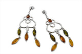 STERLING SILVER TRI-COLOR BALTIC AMBER TASSEL EARRINGS