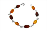 STERLING SILVER TRI-COLOR BEADED BALTIC AMBER BRACELET