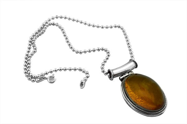 Sterling Silver Tube Bale Baltic Amber Necklace Pendant