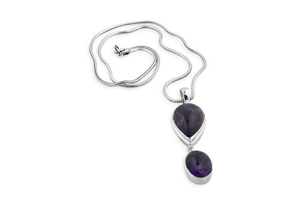 Sterling Silver Two Amethyst Cabochon Pendant with Chain