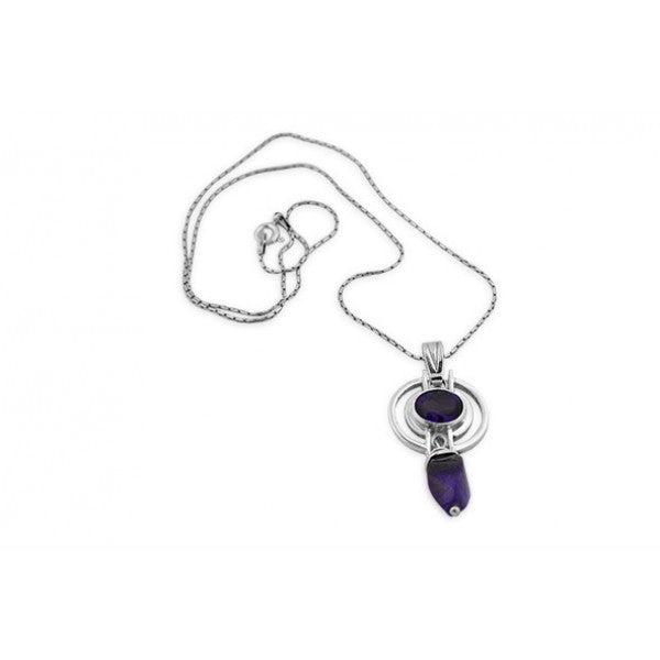 Sterling Silver Two Amethyst Pendant with Chain
