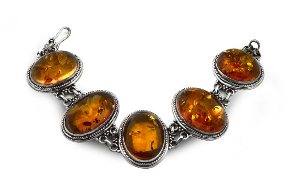 STERLING SILVER ULTRA HEAVY BALTIC AMBER BRACELET