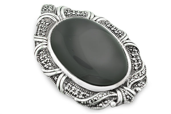 STERLING SILVER VICTORIAN BLACK ONYX MARCASITE BROACH AND PENDANT