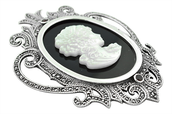 STERLING SILVER VICTORIAN MARCASITE CAMEO PENDANT AND BROACH