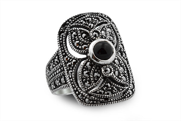 Sterling Silver Vintage Cocktail Black Onyx Ring