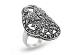 STERLING SILVER VINTAGE MARCASITE COCKTAIL RING