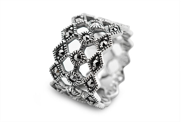 STERLING SILVER WIDE FILIGREE MARCASITE BAND