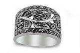 STERLING SILVER WIDE MARCASITE BAND