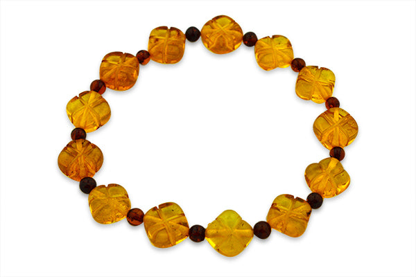 STERLING SILVER LOZENGES CARVED BALTIC AMBER BRACELET