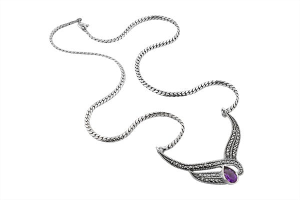 STERLING SWISS MARCASITE AND AMETHYST NECKLACE